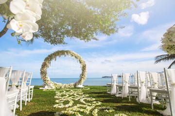 Forged wedding arch. Wedding on the sea