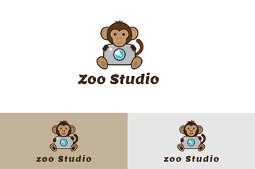 Zoo studio with Camera Logo Illustration