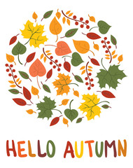 Fallen leaves lying in a circle. Yellow leaves lined in a circle. Autumn illustration for a postcard. Vector drawing in the cartoon style. Postcard with text hallo autumn.