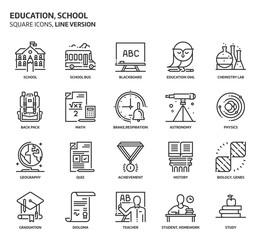 Education, school square icon set