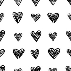 Hand drawn seamless pattern with hearts isolated on white.