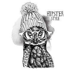 Eagle Owl in a glasses and in a Hipster Knitted Cap pompom. Vector illustration.