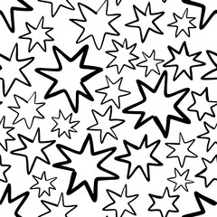 Hand drawn seamless pattern with stars isolated on white.