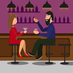 Man and woman drinking in a pub or bar couple toasting drinks and speaking. vector illustration