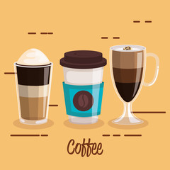 coffee cups set differents type beverage vector illustration
