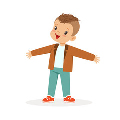 Cute happy little boy cartoon vector Illustration