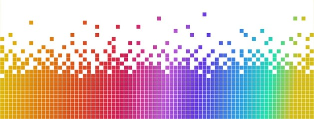 Pastel multicolored mosaic banner. Pixelated