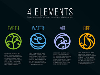 Nature 4 Classical elements circle curve line border abstract icon sign. Water, Fire, Earth, Air. vector design