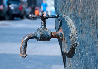 Old tap on a barrel