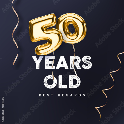 50 Years Old Gold Balloon Number 50th Anniversary Vector Illustration For Happy Birthday Congratulations