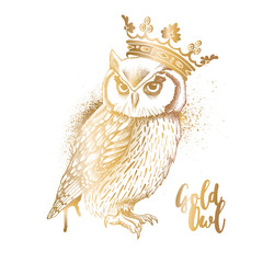 Gold Owl in a crown. Vector illustration.