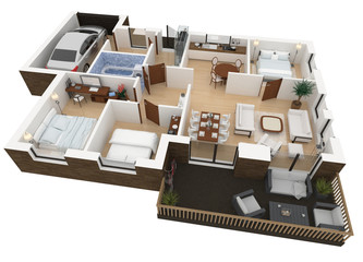 mockup of furnished home apartment