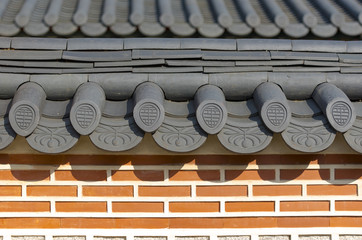 Details of traditional old Korean architecture at Gyeongbokgung Palace in Seoul