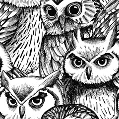 Seamless pattern with owls image. Vector black and white illustration.