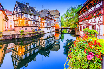 Strasbourg, Alsace, France. Traditional half timbered houses of Petite France. Wall mural