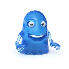 Blue alien monster 3d rendering