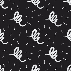 Hand drawn artistic curly lines seamless vector pattern with scattered random brush strokes. Funky decorative background for print, textile, wallpaper, home decor, packaging, wrapping, or web use.