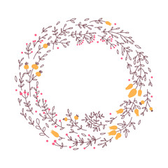 Floral round frame. Floral wreath in vector.