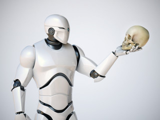 Robot holding human scull, artificial intelligence concept, AI takeover, 3d rendering