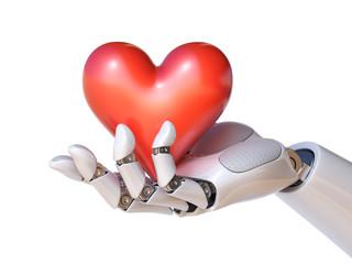 Robot hand holding a heart 3d rendering