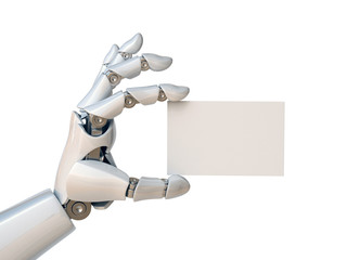 Robot hand holding a blank business card 3d rendering