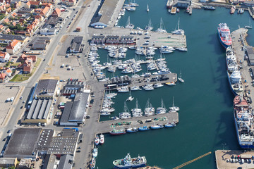 Aerial view of Skagen city ,Denmark with port .Aerial view of Skagen city ,Denmark in sunny summer day