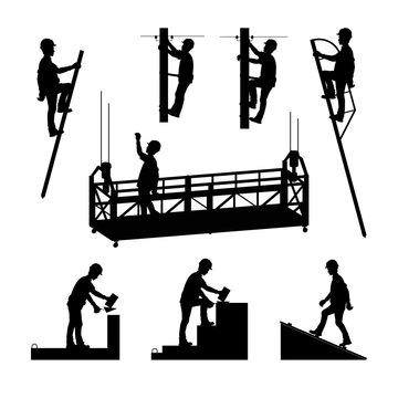 Silhouettes of builders. Brickwork. Mason bricklayer. High-altitude work. A molar, an electrician. Vector illustration.