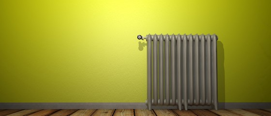 Radiator against painted wall