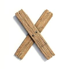 Wood font, plank font letter X