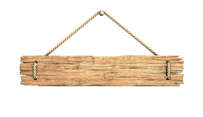 Wooden medieval sign board hanging on rope isolated on white 3d rendering