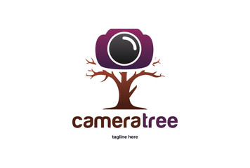 Camera Tree Logo Template Design Vector, Emblem, Design Concept, Creative Symbol, Icon