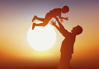père - garçon - fils - enfant - homme - bonheur -jouant - coucher de soleil