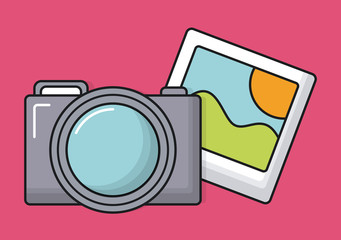 camera and picture icon over pink background colorful design vector illustration