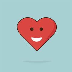 Heart happy, red, line, big smile