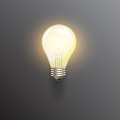 Realistic lit light bulb, isolated on black background. Vector illustration.
