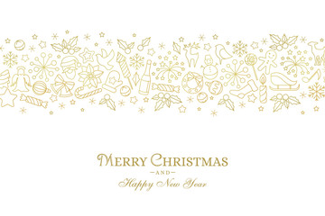 Christmas card with line art icon