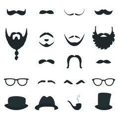 Mens Beard and Moustache Styles Props. Vector Design