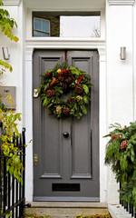Christmas Wreath at Home Entrance