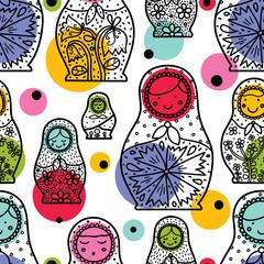 Matryoshka and polka dot. Seamless pattern. Cute babushka.