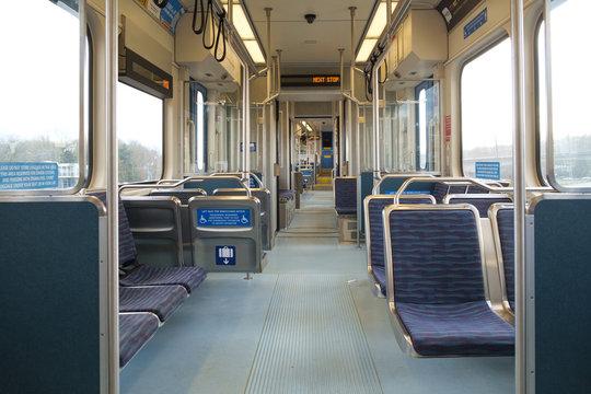 Interior of light rail train car