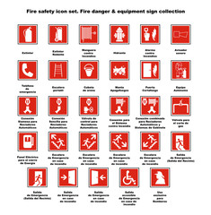 Fire safety icon set. Fire danger & equipment sign collection.