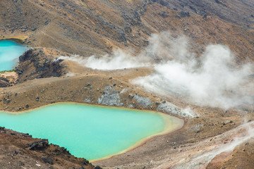 The incredibly vibrant emerald lakes of New Zealand's Tongariro Mountain Crossing.