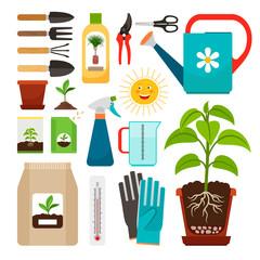 Houseplants and indoor gardening icons