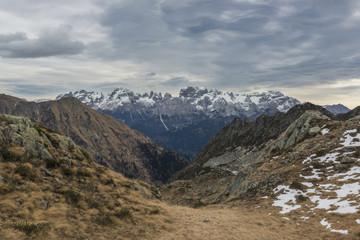 Italy, Trentino Alto Adige, Adamello Brenta Park, Brenta group view from Nambrone vally.