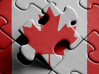 CANADA  FLAG PAINTED ON PUZZLE