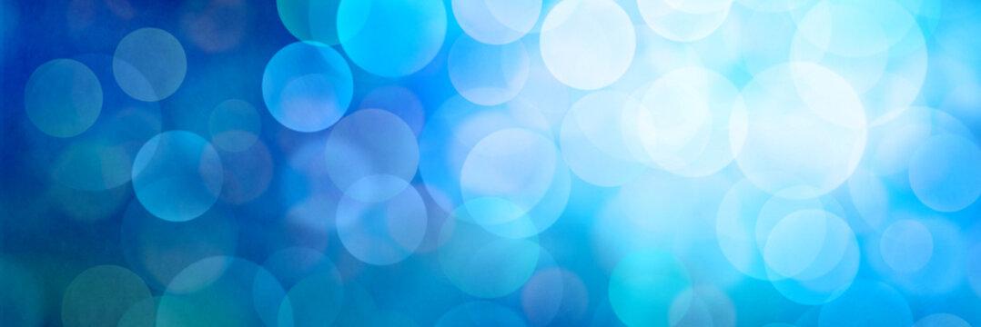 Fantastic blue light bokeh banner