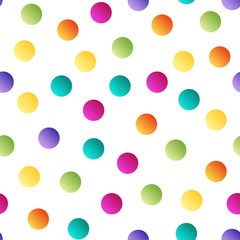 Colorful bright polka dot seamless pattern on white background .