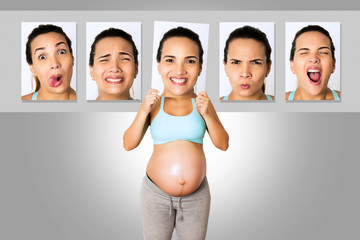 Pregnant woman with mood changes of motherhood