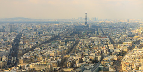 Wide panorama of Paris city with Eiffel tower