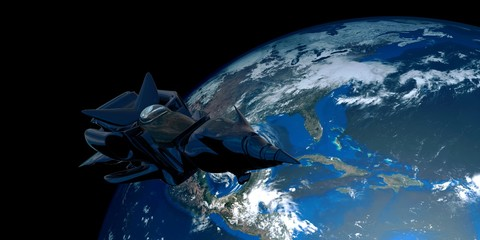 Extremely detailed and realistic high resolution 3D illustration of a Space Ship orbiting Earth. Shot from Space. Elements of this image are furnished by Nasa.